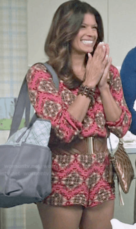Xiomara's style from jane the virgin: Xo wearing a patterned dress with a brown statement belt