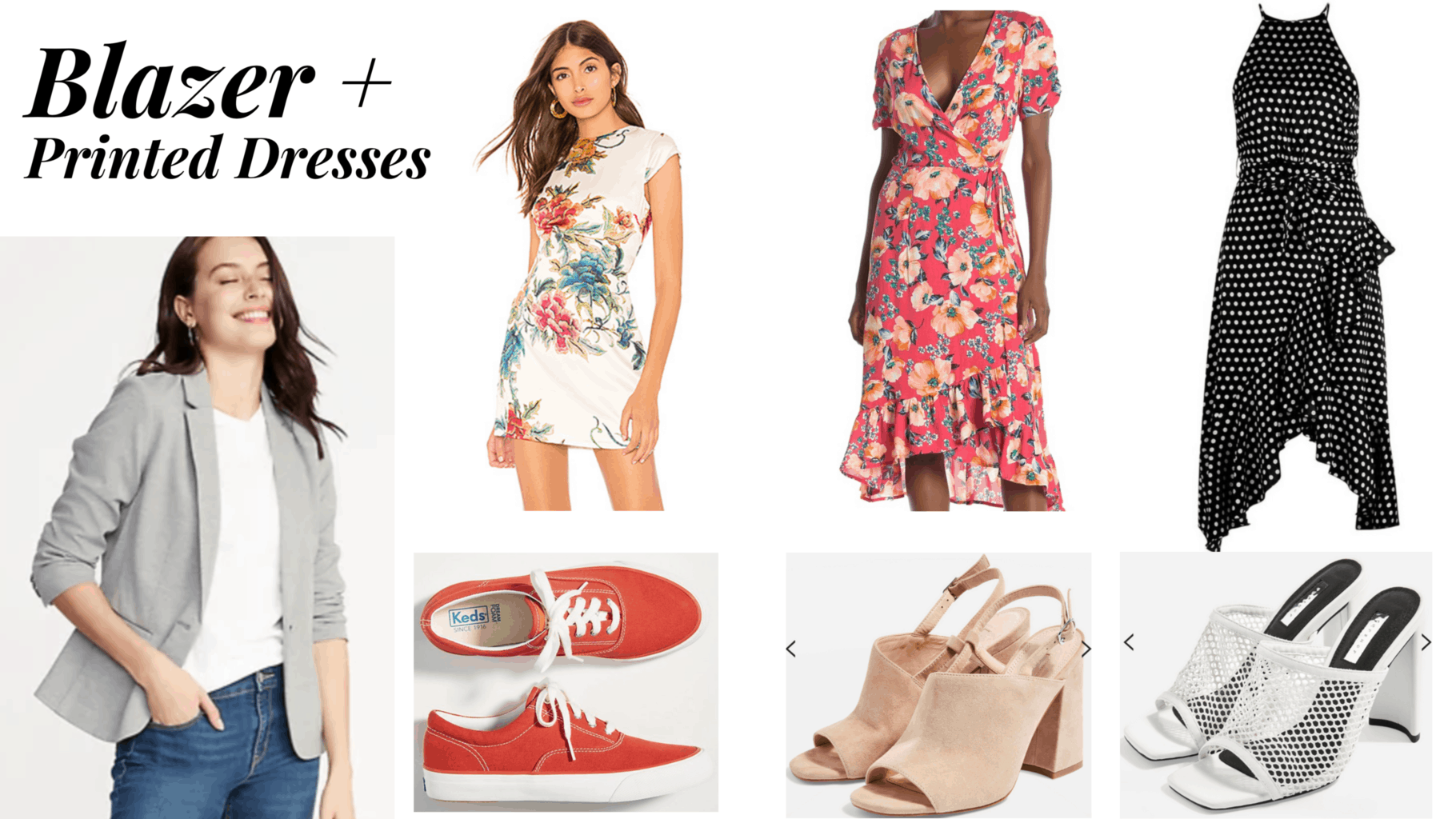 outfit panel with grey blazer, 3 printed dresses, sneakers, and 2 heels