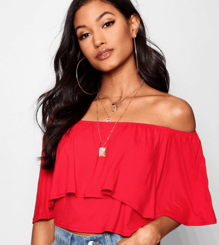 red frills top