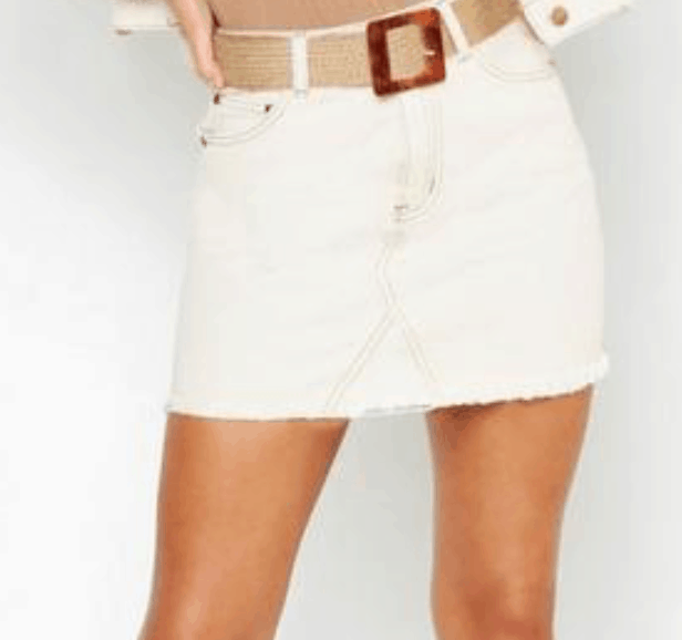 beige denim skirt