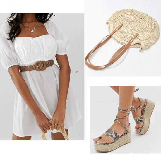 White Dress with platform heels and a woven tote bag