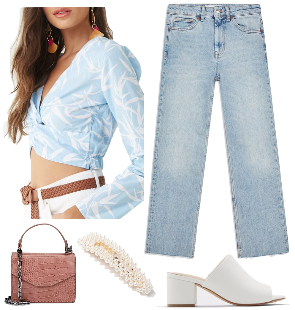 Sofia Richie Outfit: blue and white printed crop top, light wash straight leg jeans, pink mini top handle bag, faux pearl hair clip, and white mules