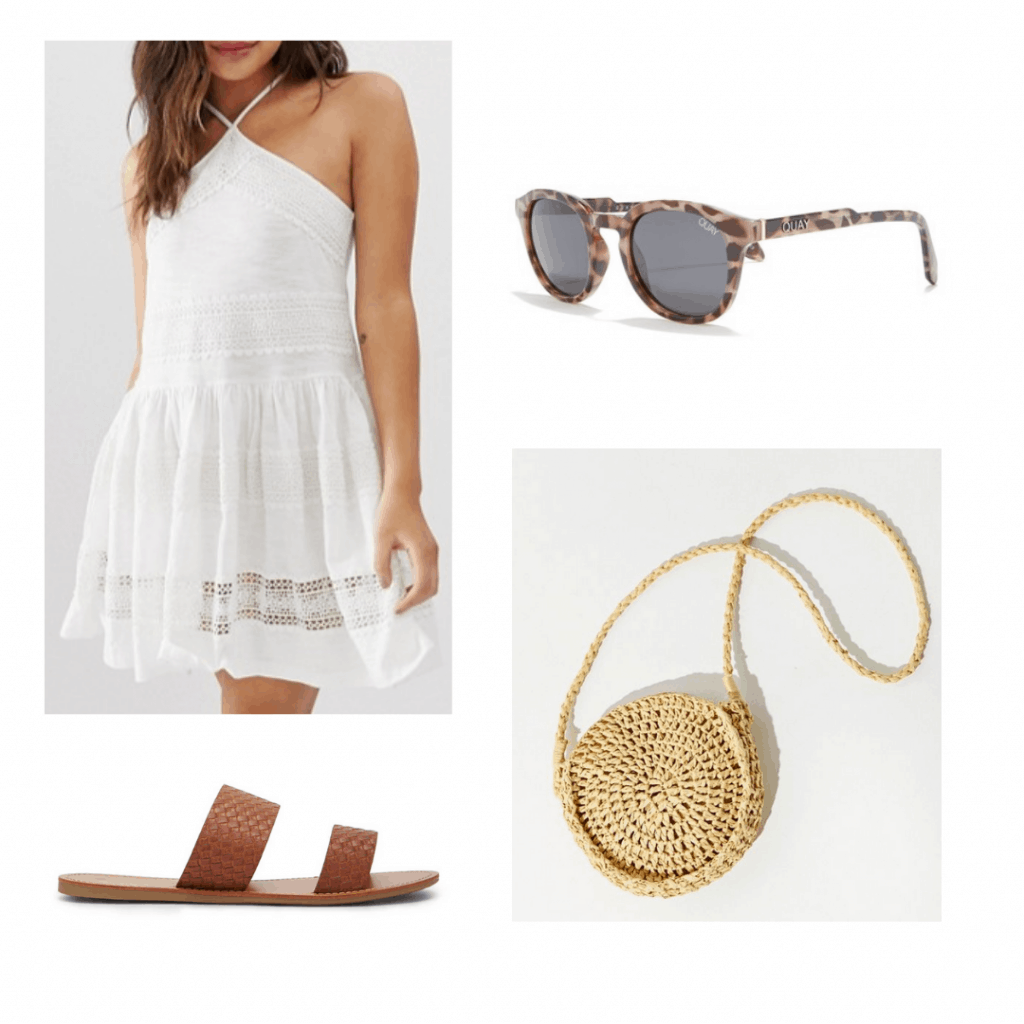 white sundress, tortoiseshell sunglasses, round straw cross body bag, brown slide sandals