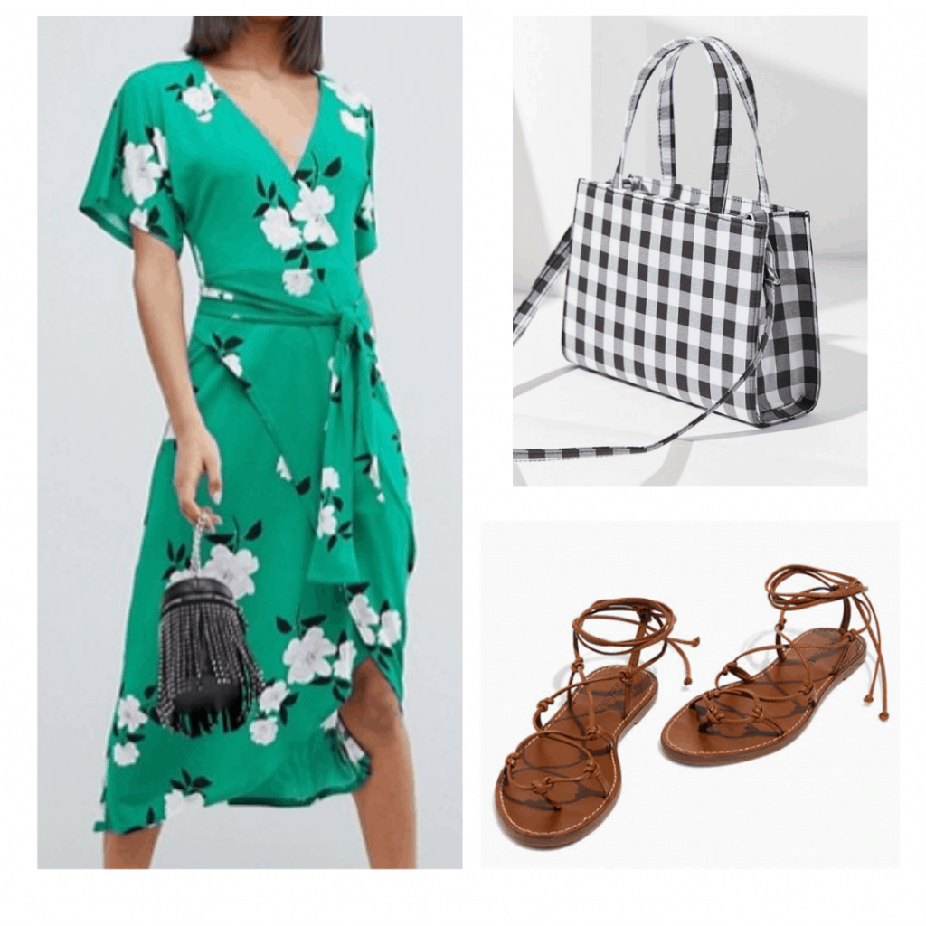 green floral maxi dress, gingham mini cross body bag, brown tie sandals