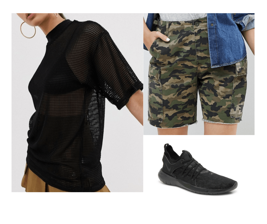 Billie Eilish inspired outfit with camo shorts, mesh oversized top, black sneakers