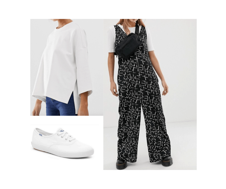 Billie Eilish inspired outfit with patterned jumpsuit, white sweatshirt, white keds