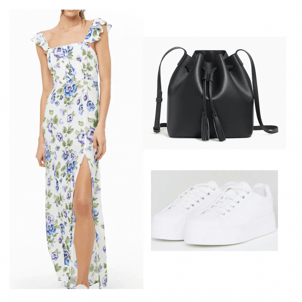 ruffle floral maxi dress with slit, black bucket bag, white sneakers
