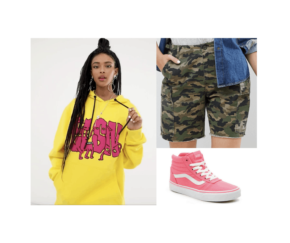Billie Eilish inspired outfit with pink high tops, yellow and red printed sweatshirt, camo shorts