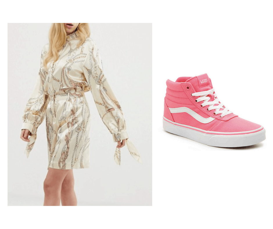 Billie Eilish inspired outfit with printed long sleeve dress and pink high tops