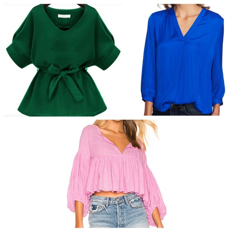 Flowy blouses in green, blue, and pink inspired by Xo's style from Jane the Virgin