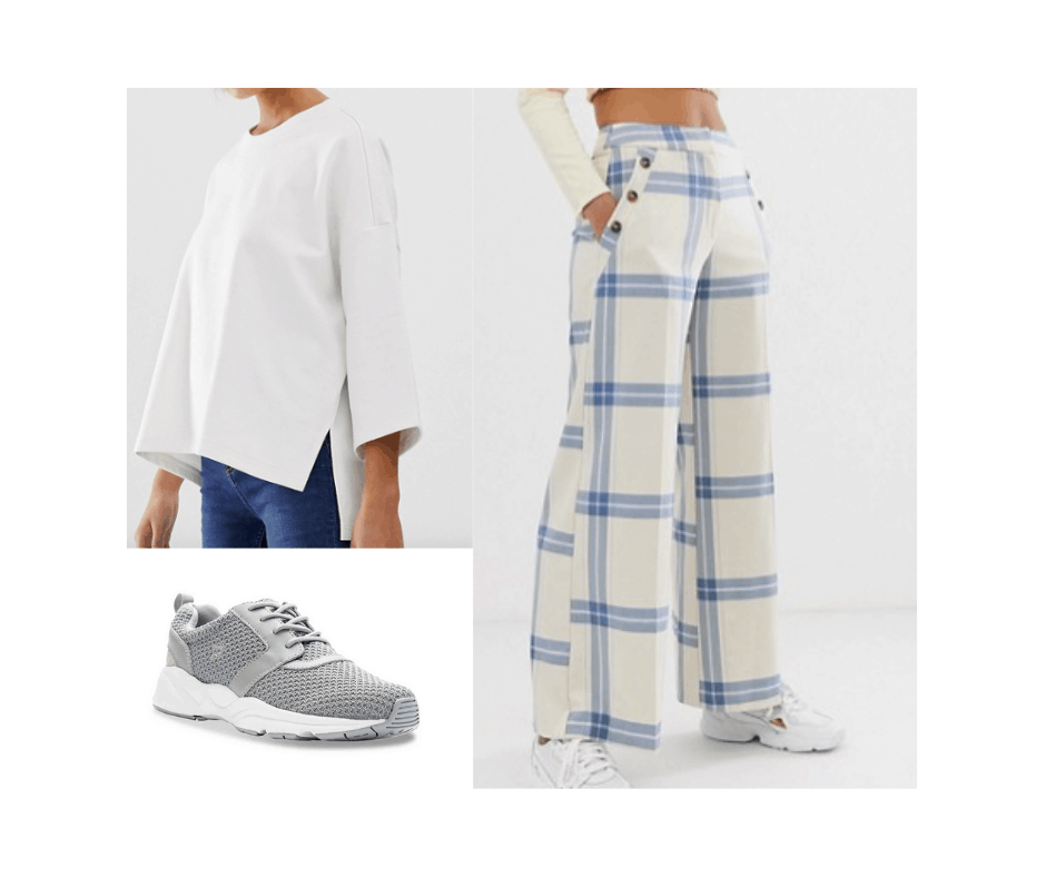 Billie Eilish inspired outfit with plaid oversized pants, white oversized top, and gray running shoes