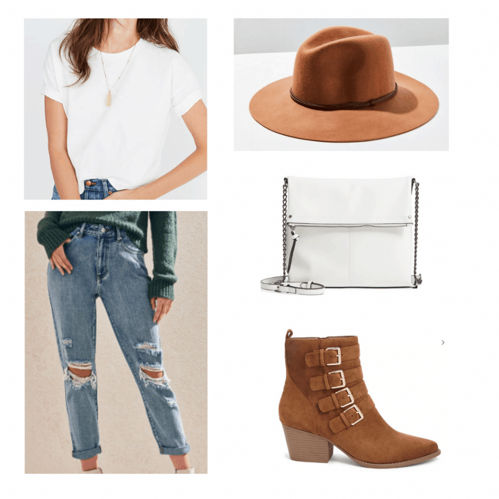 What to wear in South Africa: Outfit for cape town with ripped jeans, white tee, white chain strap bag, oversized felt hat, brown buckle ankle boots