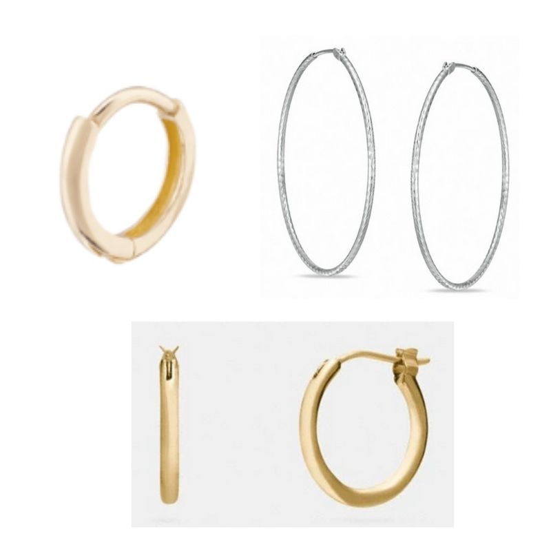 Variety of hoop earrings in gold and silver