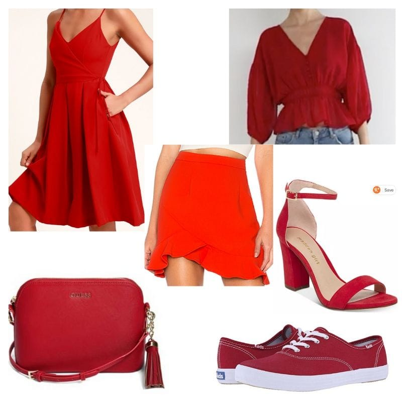 All red clothing and accessories