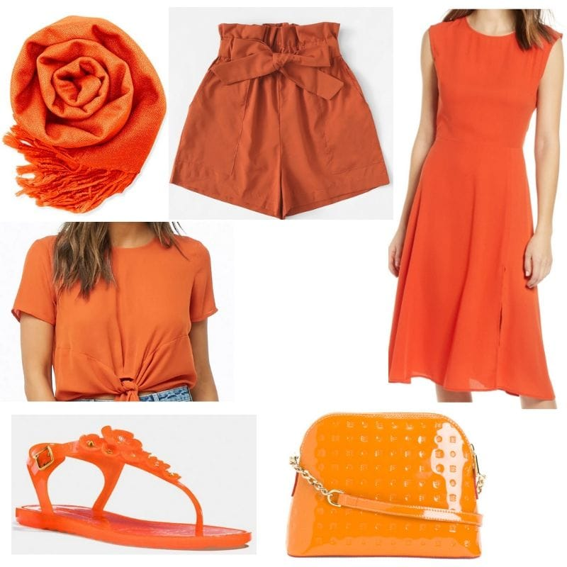 Orange clothes and accessories
