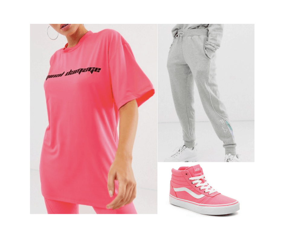Billie Eilish inspired outfit with pink oversized tee shirt, pink high tops, gray sweatpants