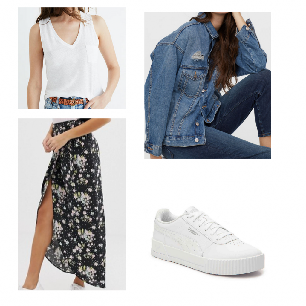 What to wear in South Africa: Outfit for Johannesburg with floral maxi skirt, white Puma sneakers, white pocket tank, distressed denim jacket