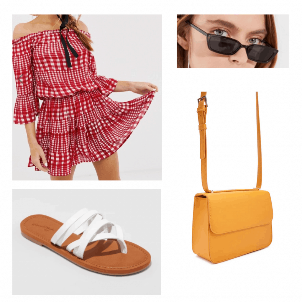 What to wear in South Africa: Outfit for Durban with red ruffle romper, mini sunglasses, white layered strappy sandals, mustard yellow shoulder bag