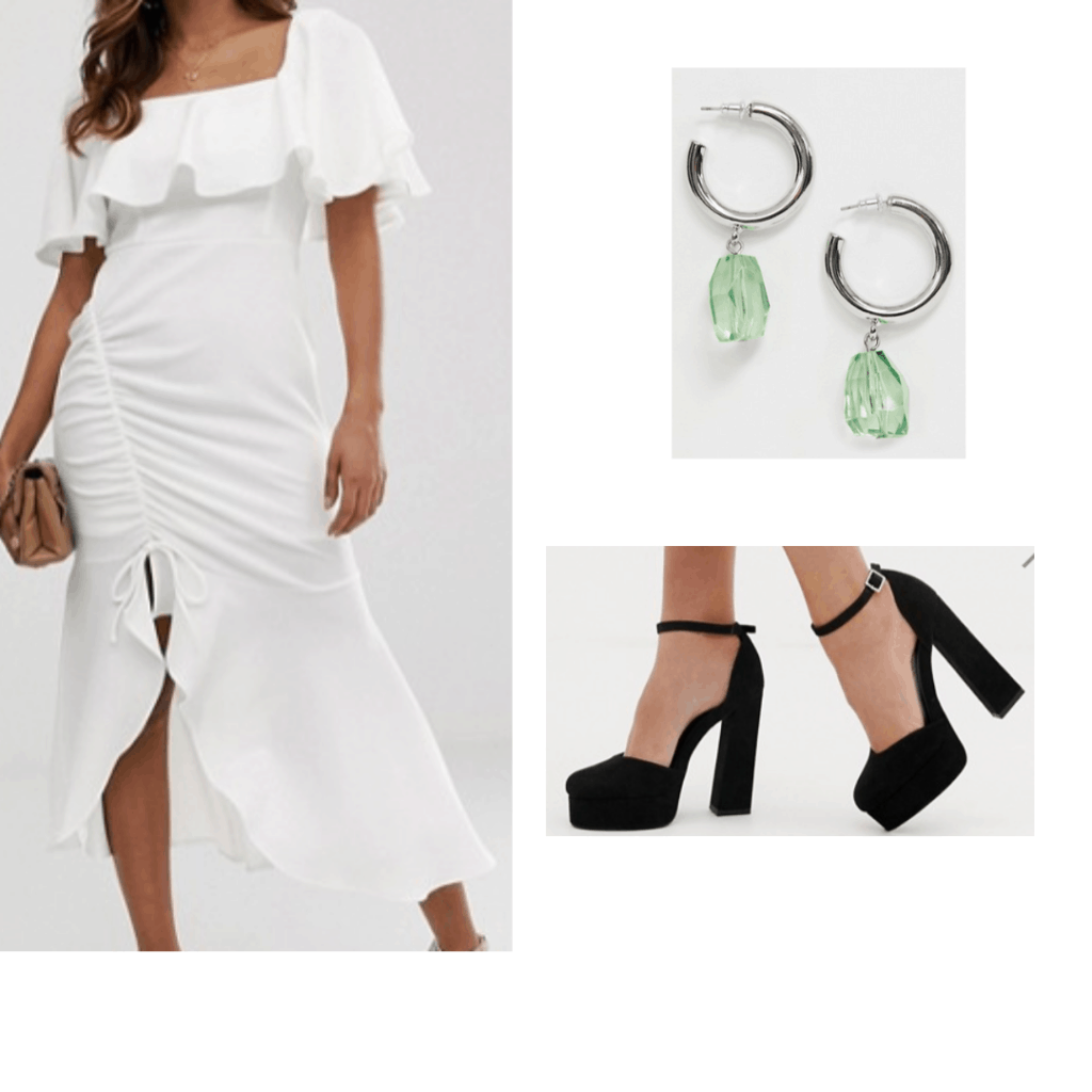 White dress outfit inspired by Lily Collins at the 2019 Met Gala: White off the shoulder ruffle dress, platform heels, silver and green earrings