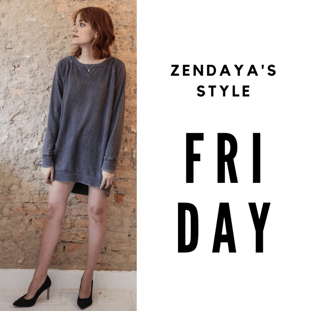 Zendaya Outfit #5 Friday: Sweater dress, heels
