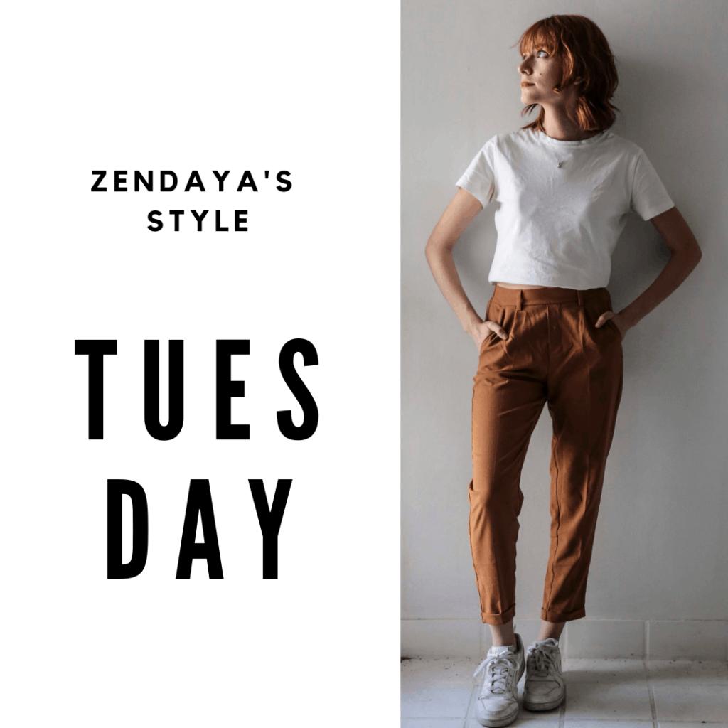 Zendaya Outfit #2 Tuesday: pants, t-shirt, sneakers