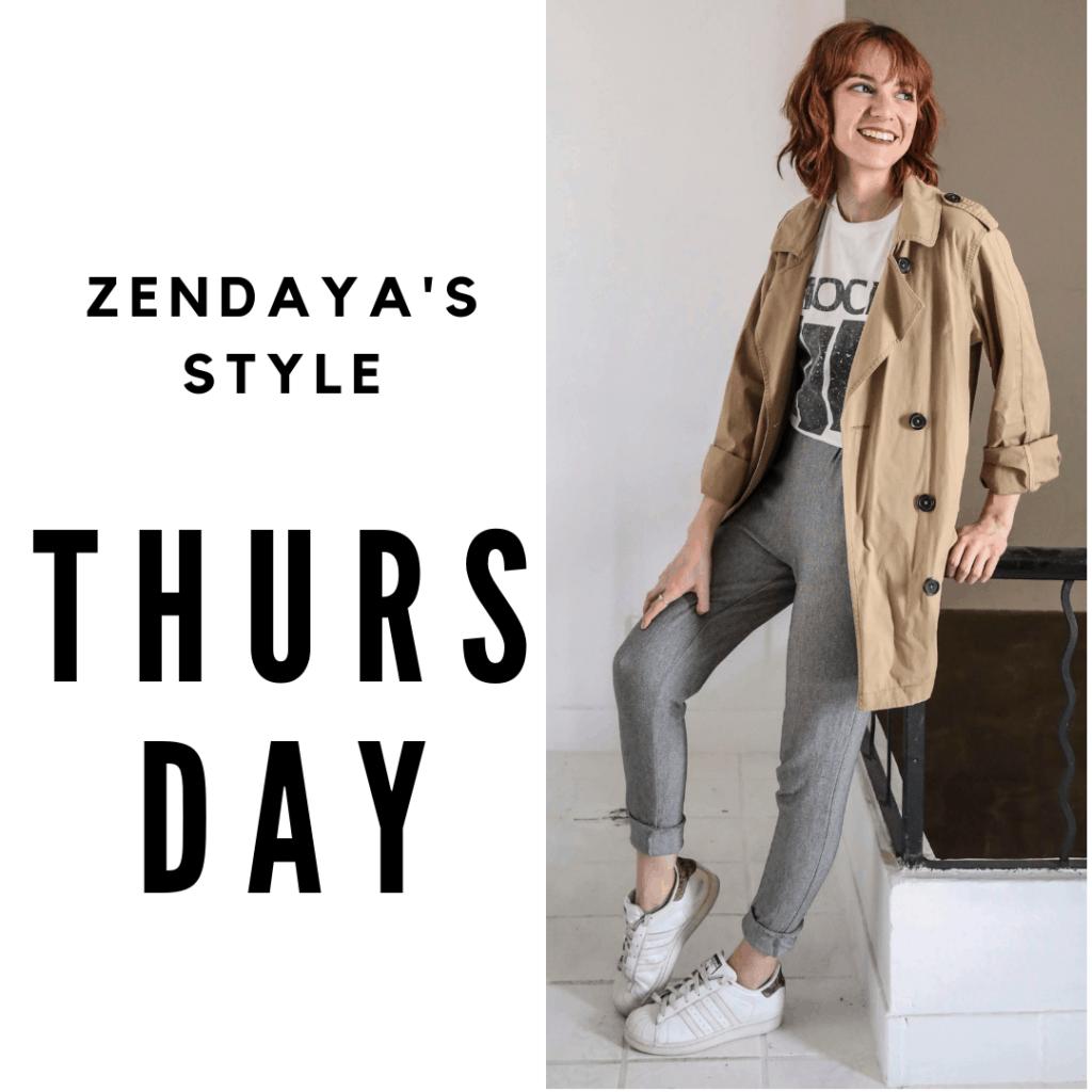 Zendaya Outfit #4 Thursday: joggers, t-shirt, sneakers, coat