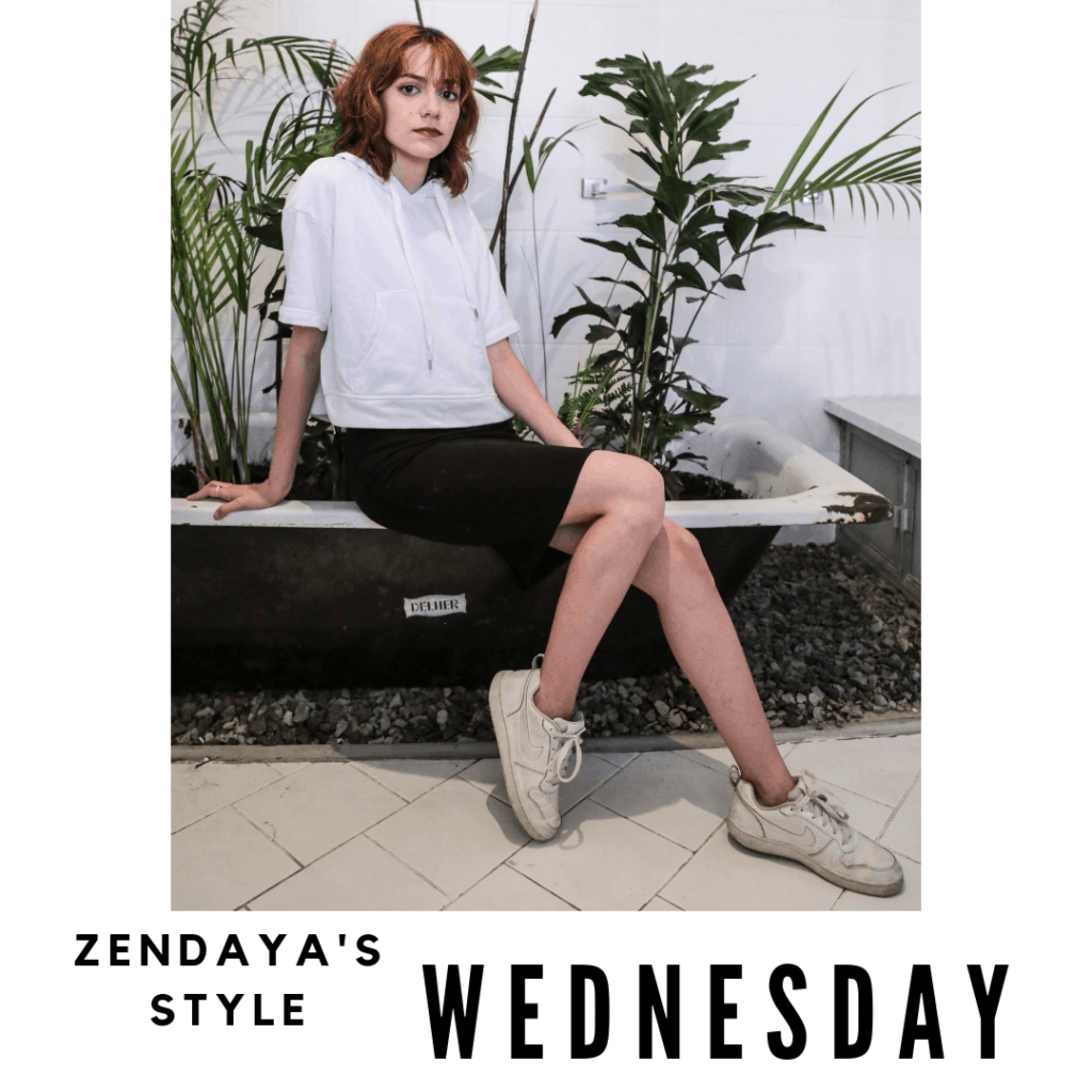 Zendaya Outfit #3 Wednesday: skirt, sweatshirt, sneakers