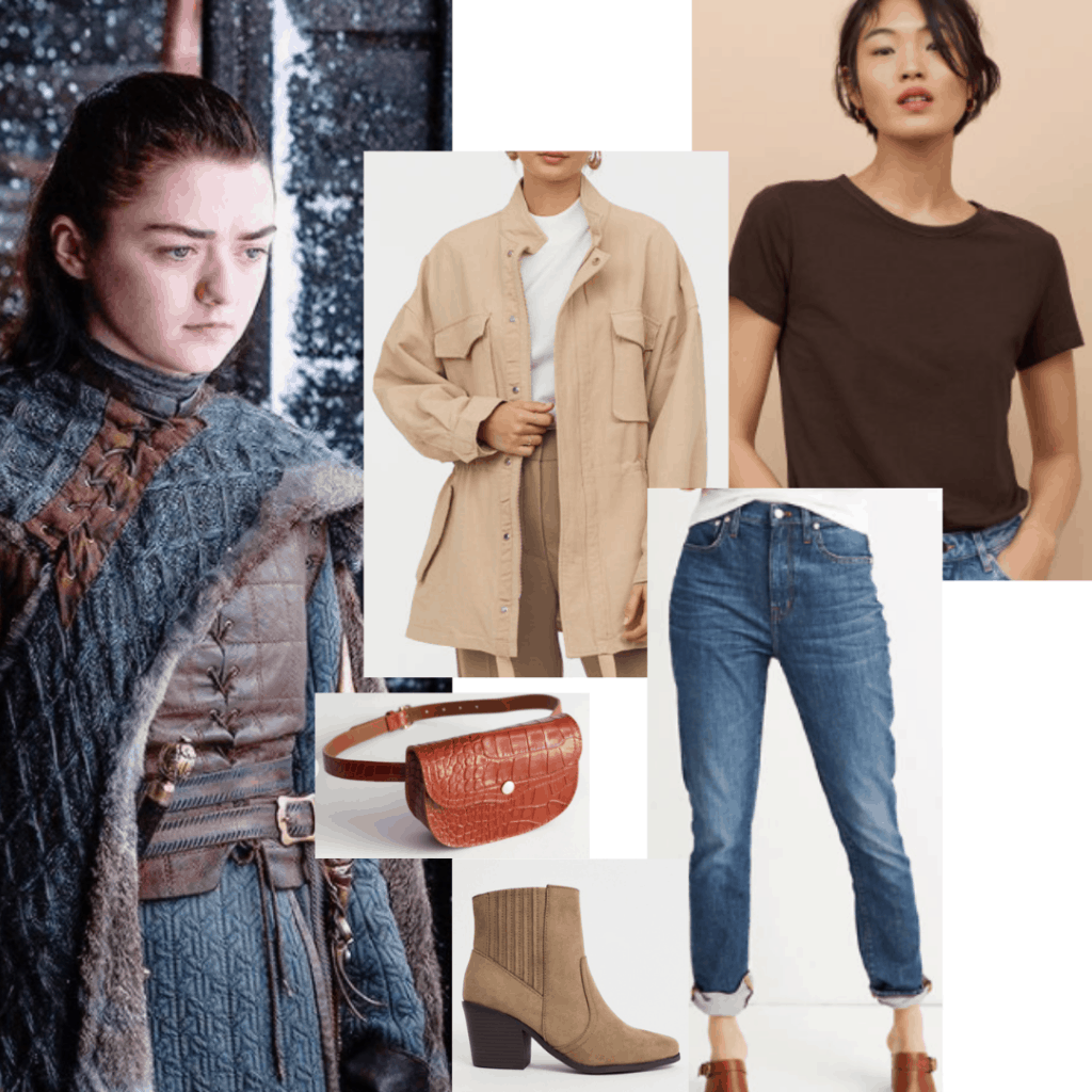 Arya Stark outfit with oversized shirt, brown tee, boyfriend jeans, mid heel boots, fanny pack