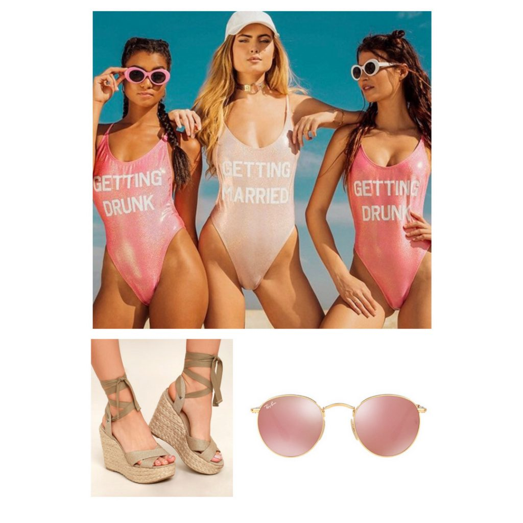 Bachelorette weekend in Miami outfit idea with one-piece bathing suits, espadrilles, sunglasses