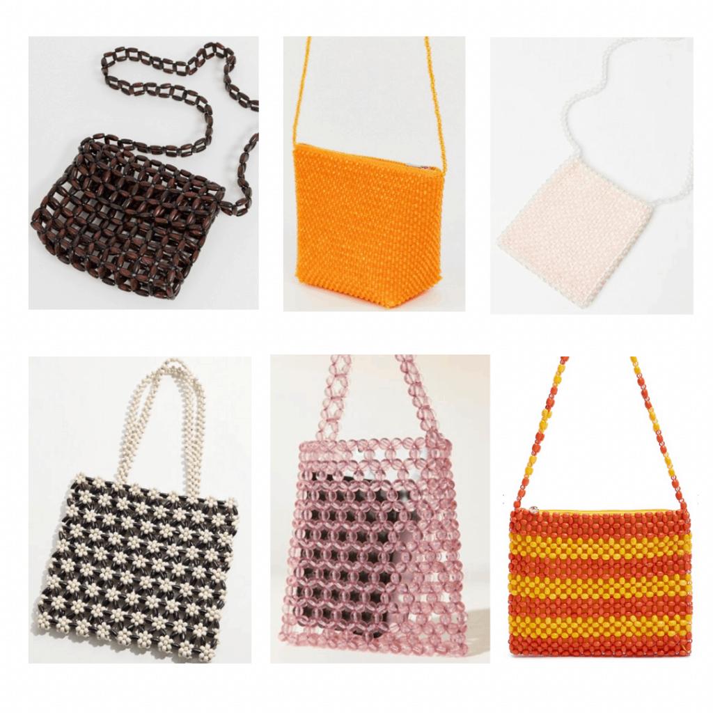 Beaded Bag: brown crossbody, orange crossbody, white crossbody, floral handbag, pink beaded handbag, striped crossbody bag