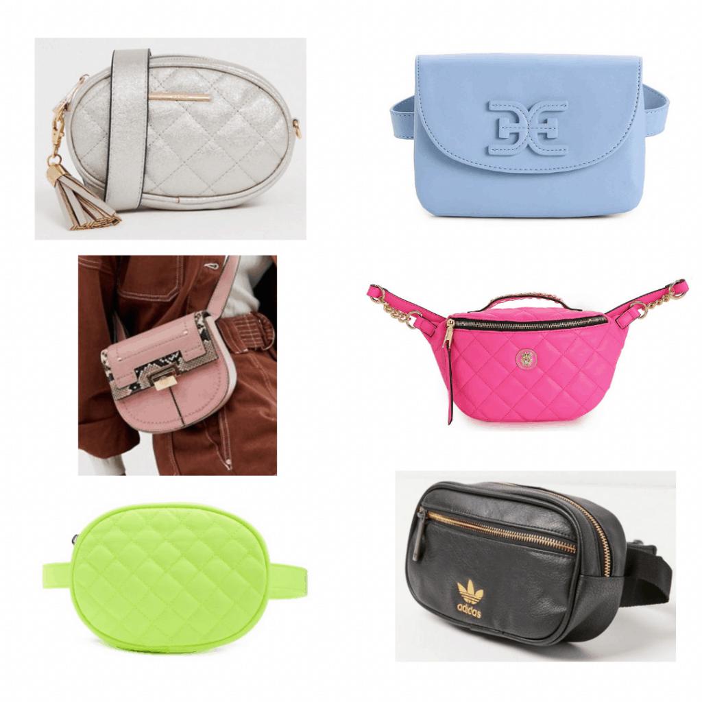 Belt bag: silver belt bag, blue belt bag, snakeskin belt bag, pink quilt belt bag, green quilt belt bag, black and gold belt bag