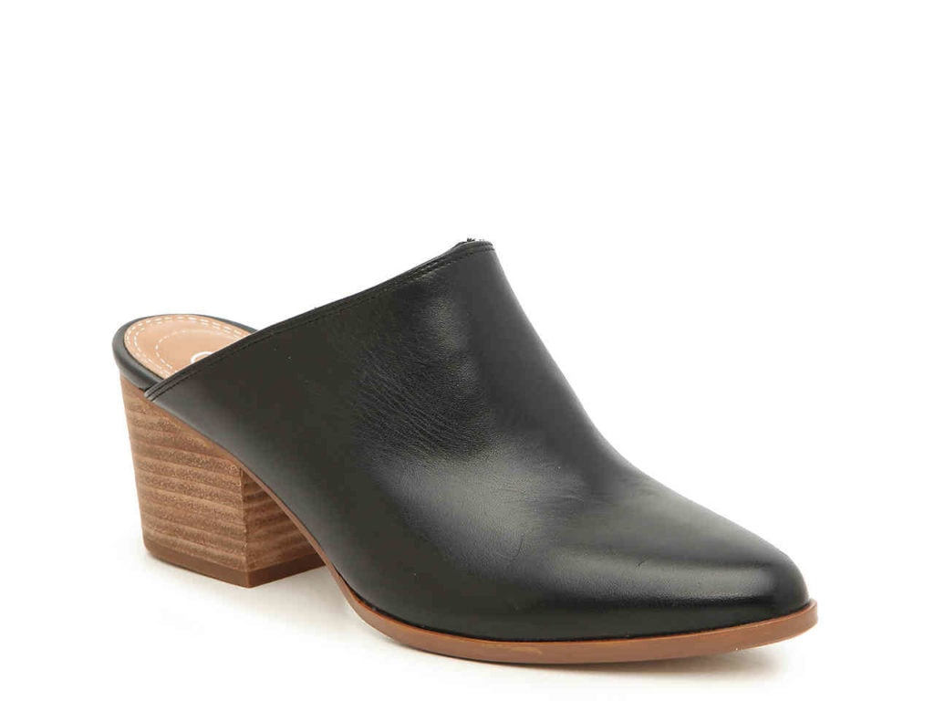 Black wooden mules