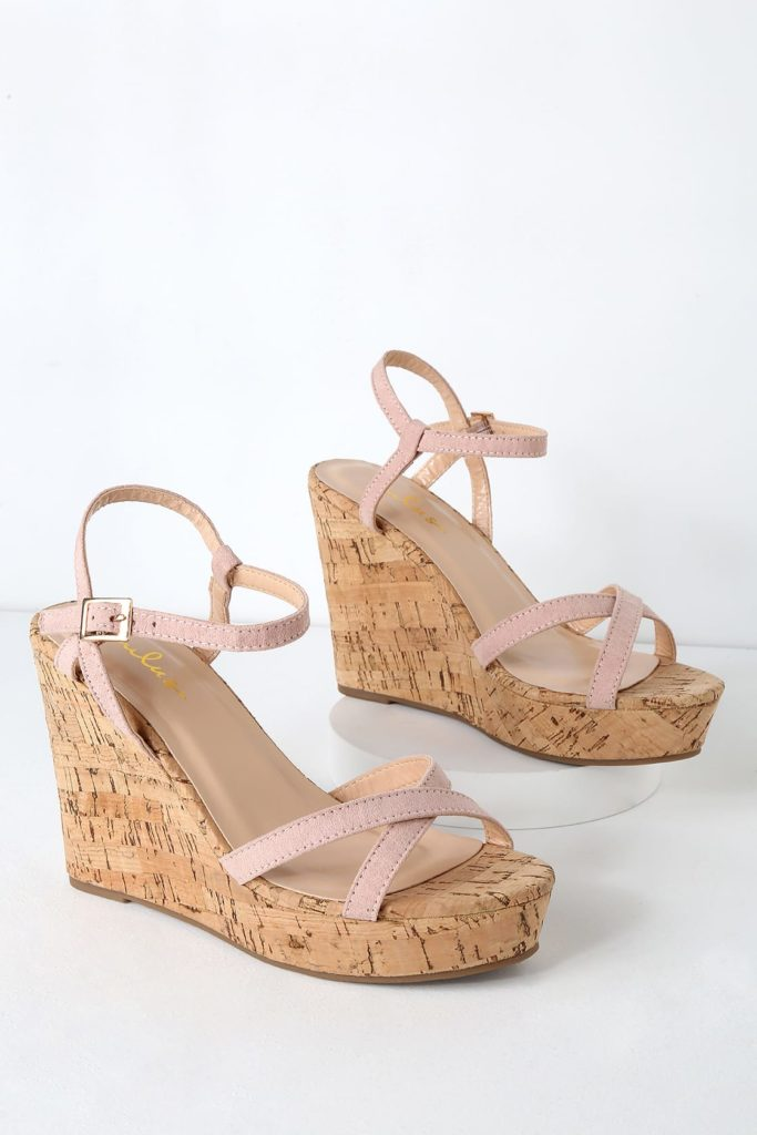 Blush wedges with cork wedge