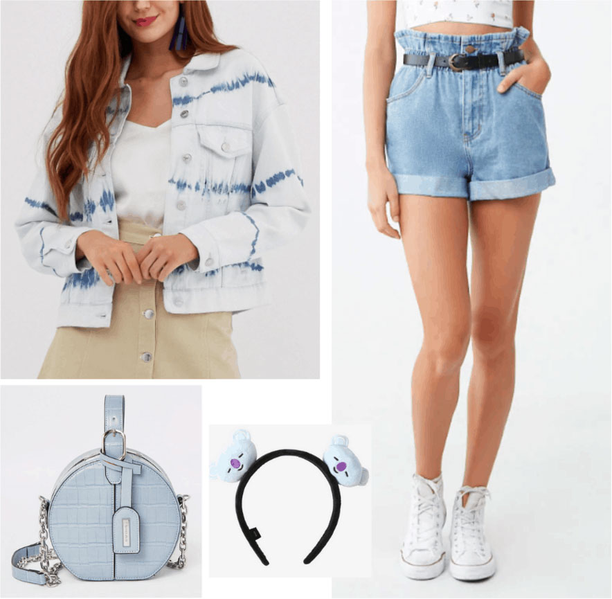 BTS concert outfit with denim shorts, denim jacket, blue bag