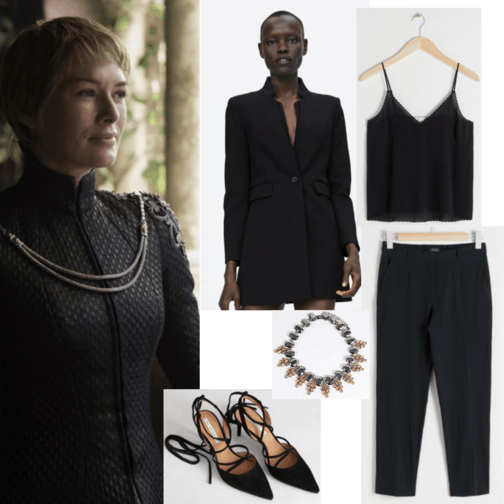 Cersei Lannister all black outfit with black pants, black cami, black blazer, black lace up heels, choker