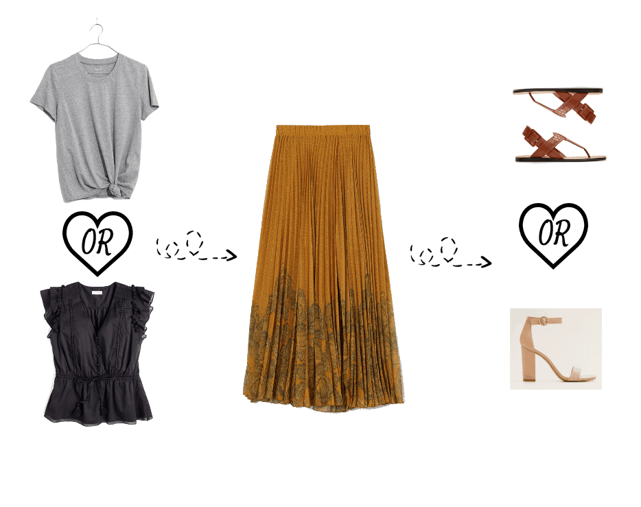 Maxi skirt outfit options