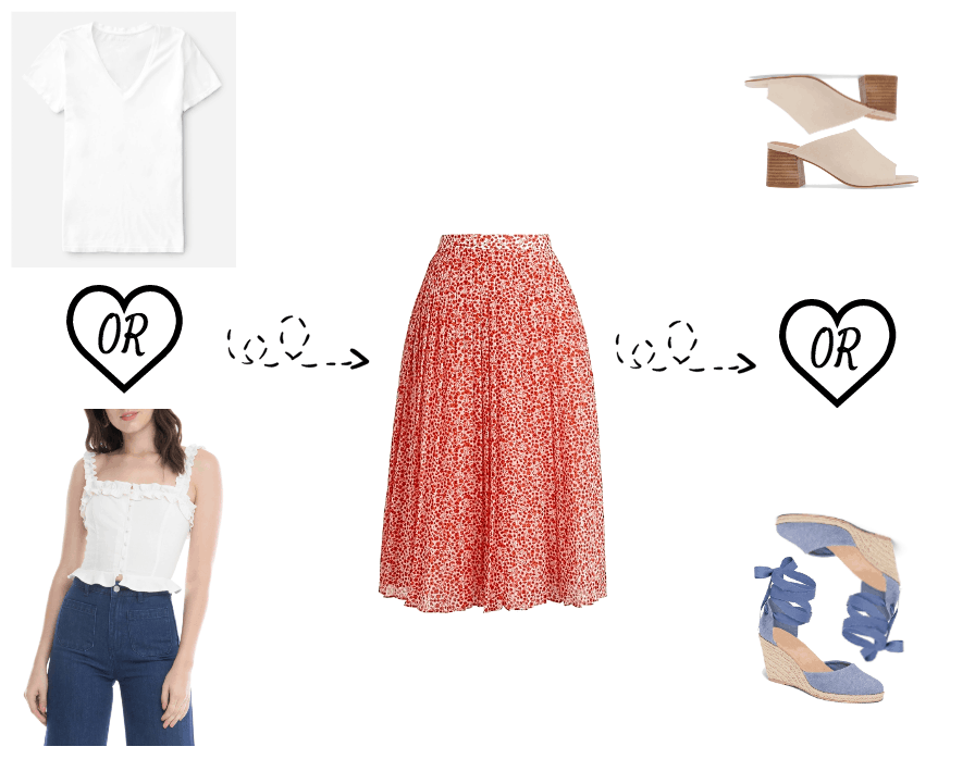 Midi skirt outfit options
