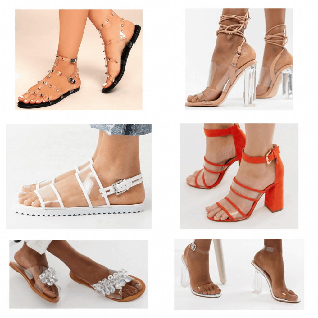 Clear Sandals: Studded Sandals, Ankle Wrapped Sandals, Banded sandals, Red heeled sandals, clear jeweled sandals, Clear two piece sandals