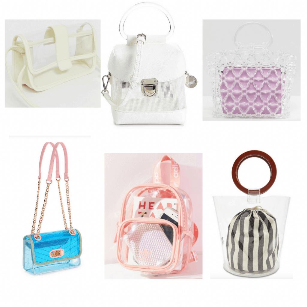Summer 2019 bag trends -- Clear bags: Cream crossbody, white boxy crossbody, clear handbag, blue transparent crossbody, clear backpack, clear bucket bag