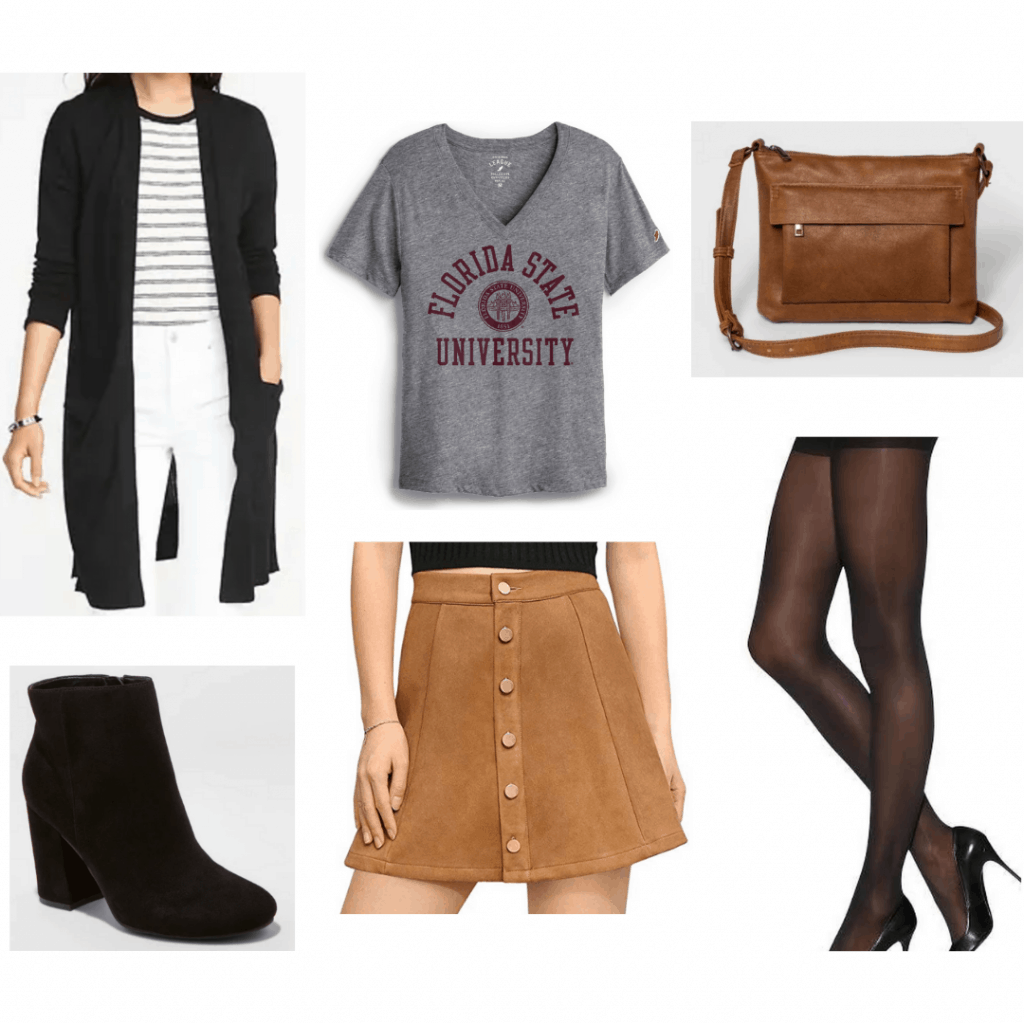 College tee paired with skirt, tights, cardigan, boots, and crossbody bag