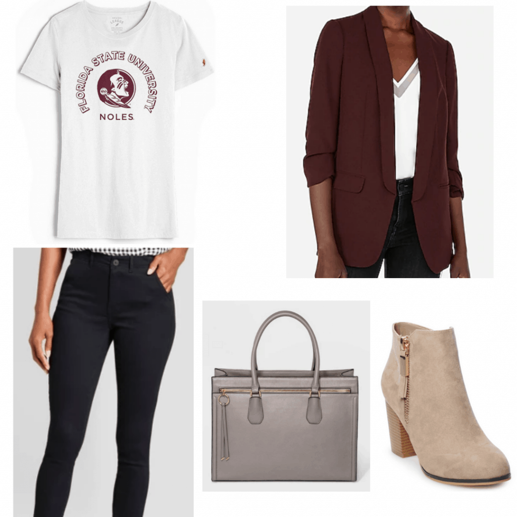 How to dress up a college tshirt - College tee paired with blazer, pants, boots and work bag