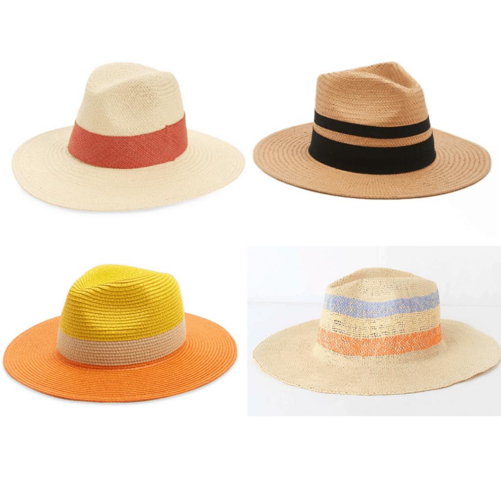 Color Block Hat: Coral Block Hat, Black Ribbon Fedora, Color Block Fedora, Striped Panama Hat