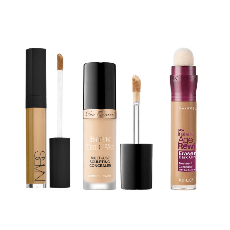 Best concealers - NARS radiant creamy concealer, Too Faced Born This Way, and Maybelline Instant Age Rewind