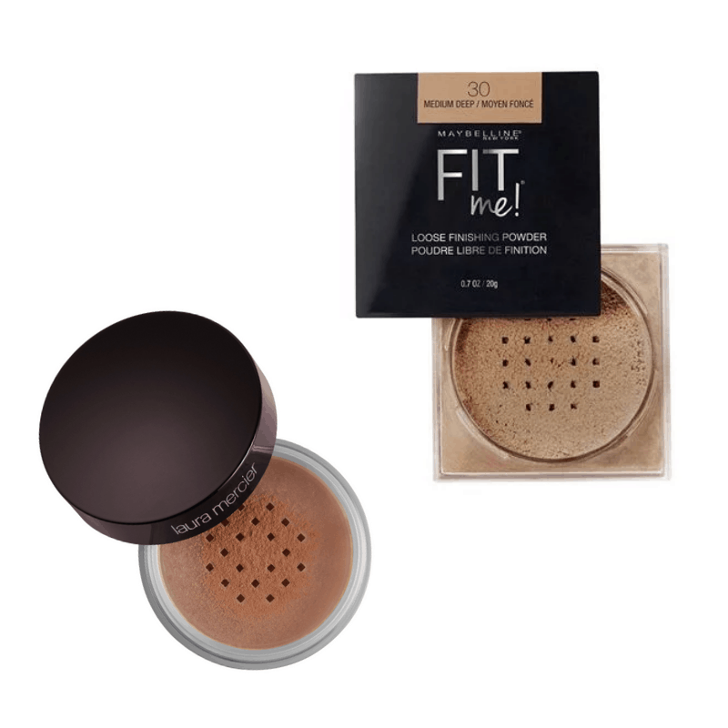 Best face powders for deep skin - Maybelline Fit Me and Laura Mercier in medium deep