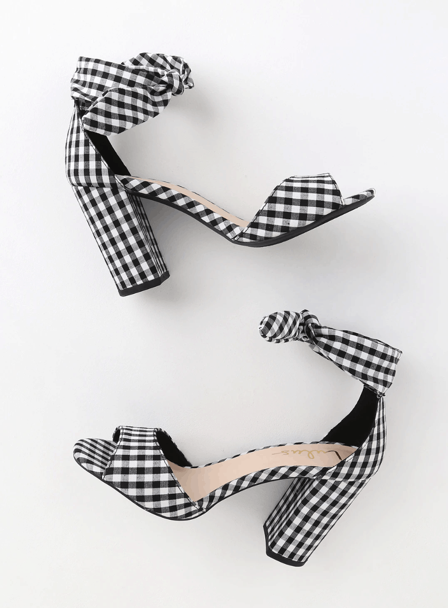 Gingham heels in black and white