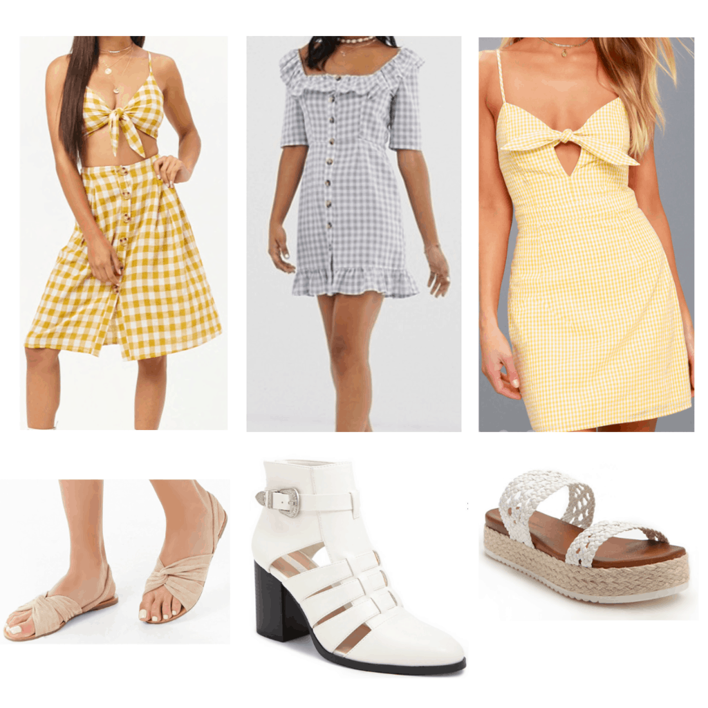 gingham outfits: gingham crop top and skirt set, gingham dress, gingham tie front dress, tan twisted sandals, white cutout booties, white crochet platform sandals