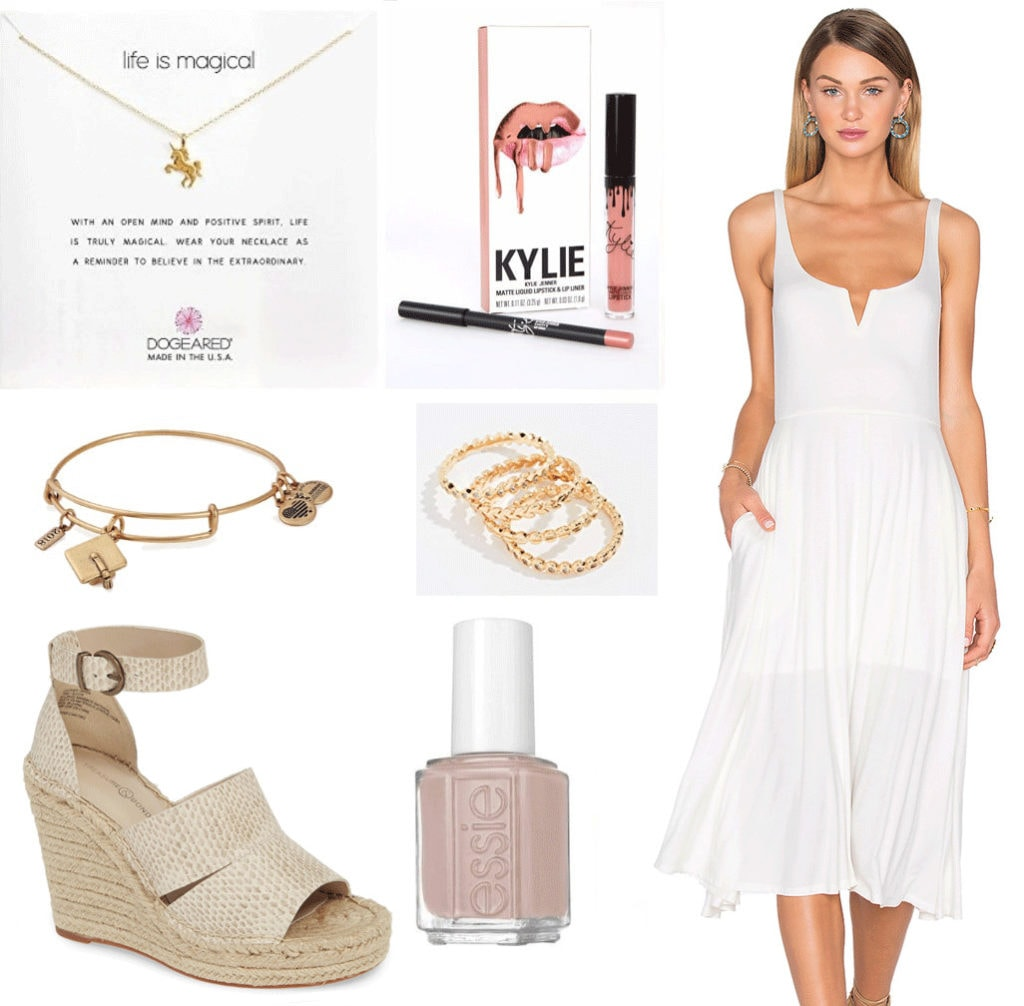 Graduation outfit idea: White dress, unicorn necklace, Kylie lip kit, Graduation cap bracelet, stacked rings, snakeskin espadrilles, blush pink nail polish