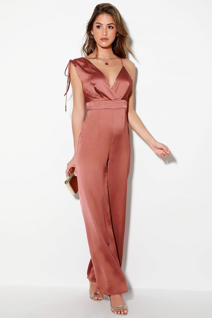 Rusty rose asymmetrical jumpsuit from Lulus