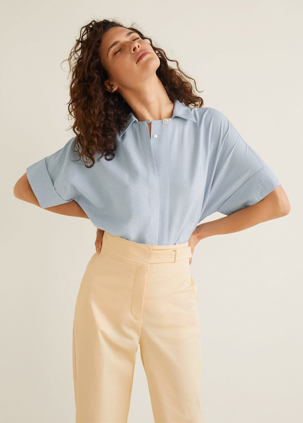 Mango baby blue blouse