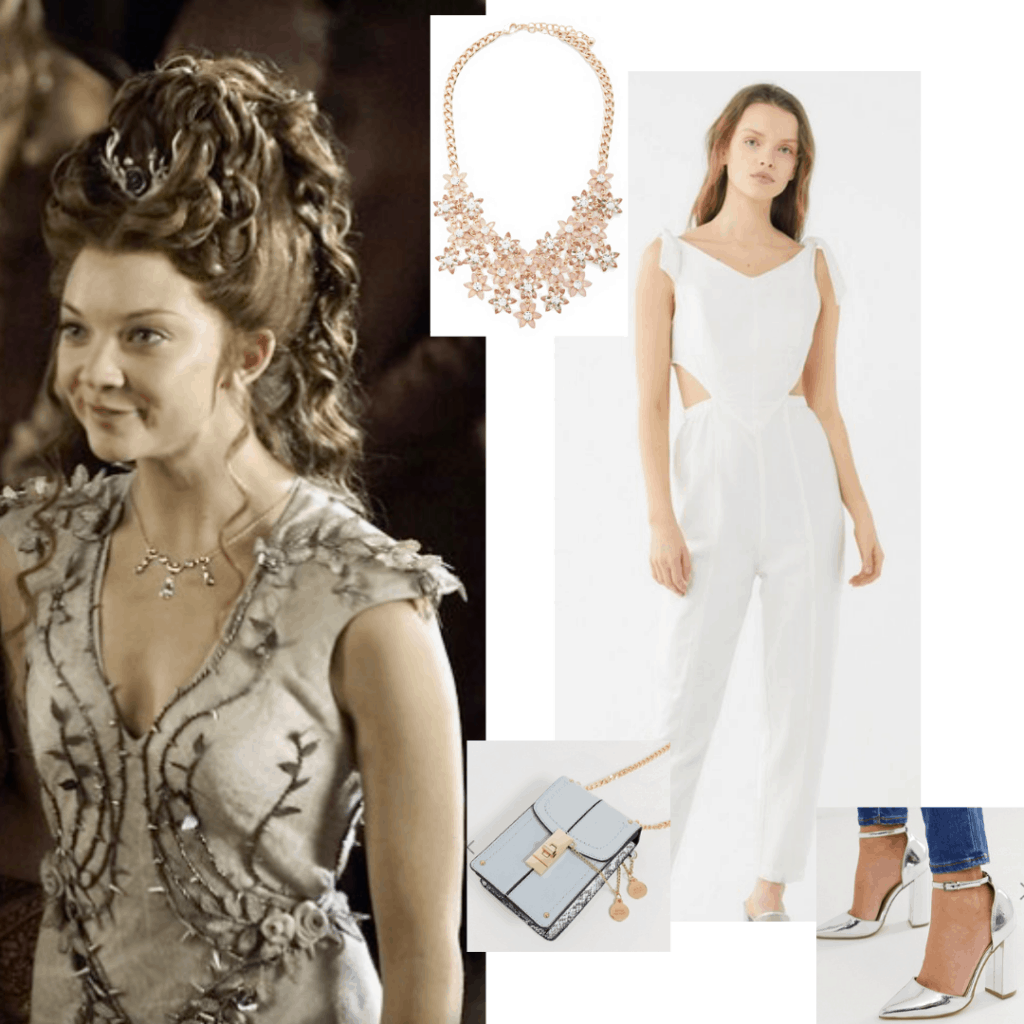 Margaery Tyrell wedding outfit inspired look with white jumpsuit, silver heels, blue bag, star necklace